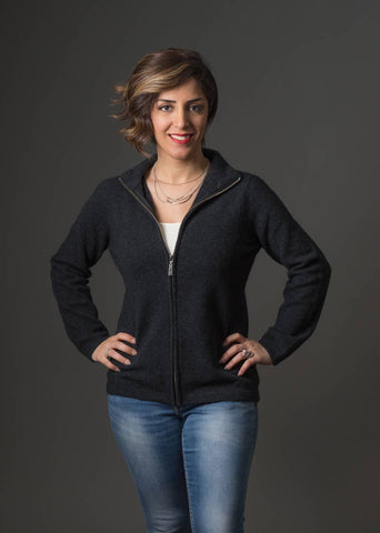 Charcoal Women's Plain Zip Jacket - NB485