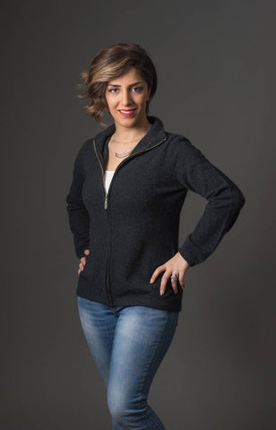 Image of Charcoal Women's Plain Zip Jacket - NB485