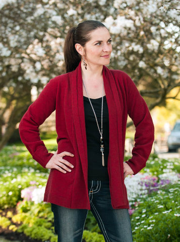 Image of Native World Berry Women's Long Merino Wrap Jacket - NB498