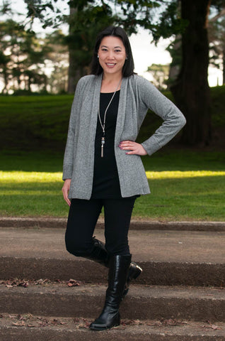 Image of Native World Silver Grey Women's Long Merino Wrap Jacket - NB498