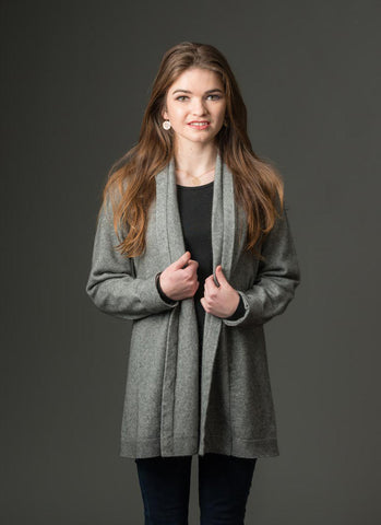 Silver Grey Women's Long Merino Wrap Jacket - NB498