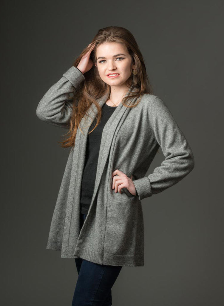 Native World Silver Grey Women's Long Merino Wrap Jacket - NB498