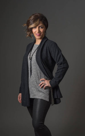Charcoal Women's Long Merino Wrap Jacket - NB498