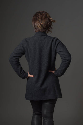 Image of Charcoal Women's Long Merino Wrap Jacket - NB498