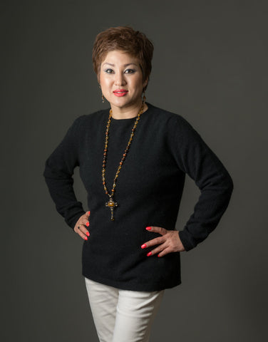 Image of Black Women's Plain Round Neck Sweater - NB682