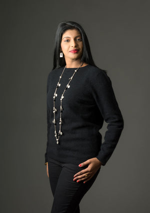 Black Women's Plain Round Neck Sweater - NB682