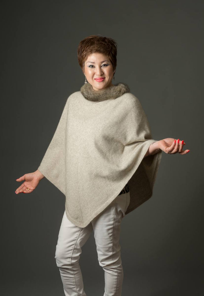 Natural Women's Fur Trim Poncho Cape - NB686