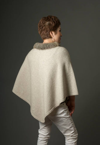 Image of Native World Natural Women's Fur Trim Poncho Cape - NB686
