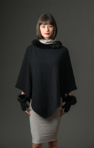 Native World Black Women's Fur Trim Poncho Cape - NB686