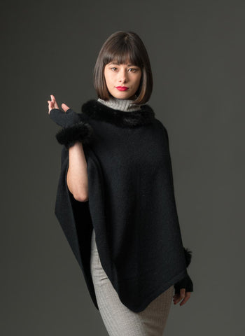 Image of Native World Black Women's Fur Trim Poncho Cape - NB686