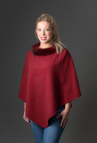 Native World Berry Women's Fur Trim Poncho Cape - NB686
