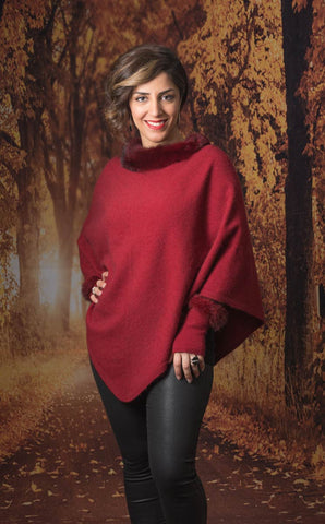 Image of Native World Berry Women's Fur Trim Poncho Cape - NB686