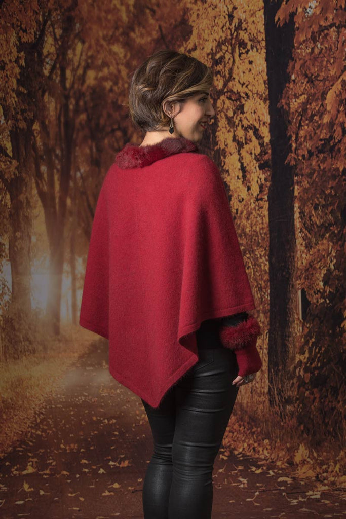 Berry Women's Fur Trim Poncho Cape - NB686