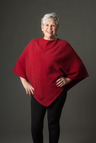 Image of Native World Berry Red Women's Poncho Cape in Possum Merino Wool - NB698