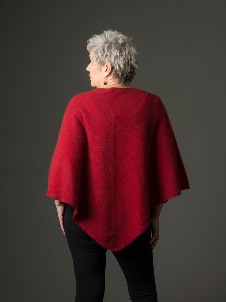 Berry Red Women's Poncho Cape in Possum Merino Wool - NB698