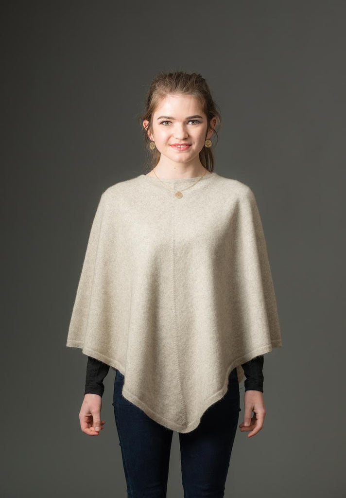 Natural Beige Women's Poncho Cape in Possum Merino Wool - NB698