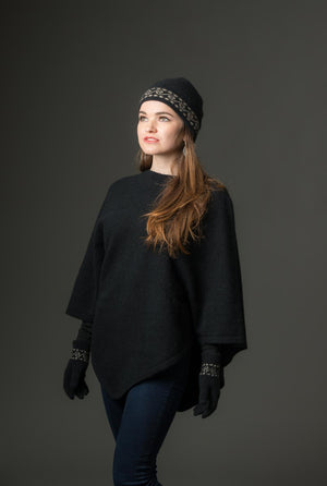 Black Women's Poncho Cape in Possum Merino Wool - NB698