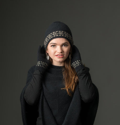 Black Koru Beanie Hat in Possum Merino Wool Unisex - NX082