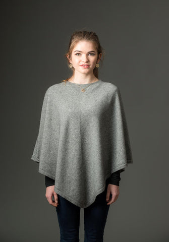Image of Silver Grey Women's Poncho Cape in Possum Merino Wool - NB698
