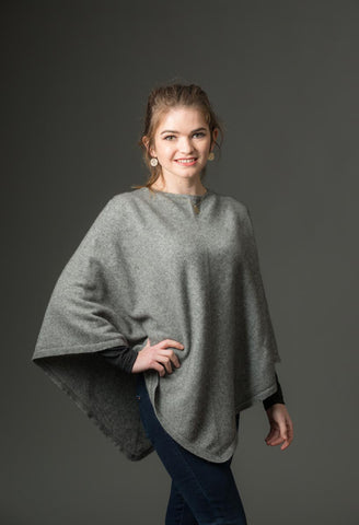 Silver Grey Women's Poncho Cape in Possum Merino Wool - NB698
