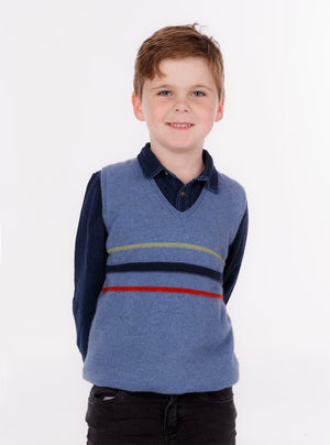 Possum & Merino Wool Surf Blue Kids Vest- NB710