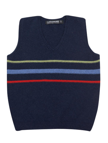 Possum & Merino Wool Twilight Blue Kids Vest - NB710