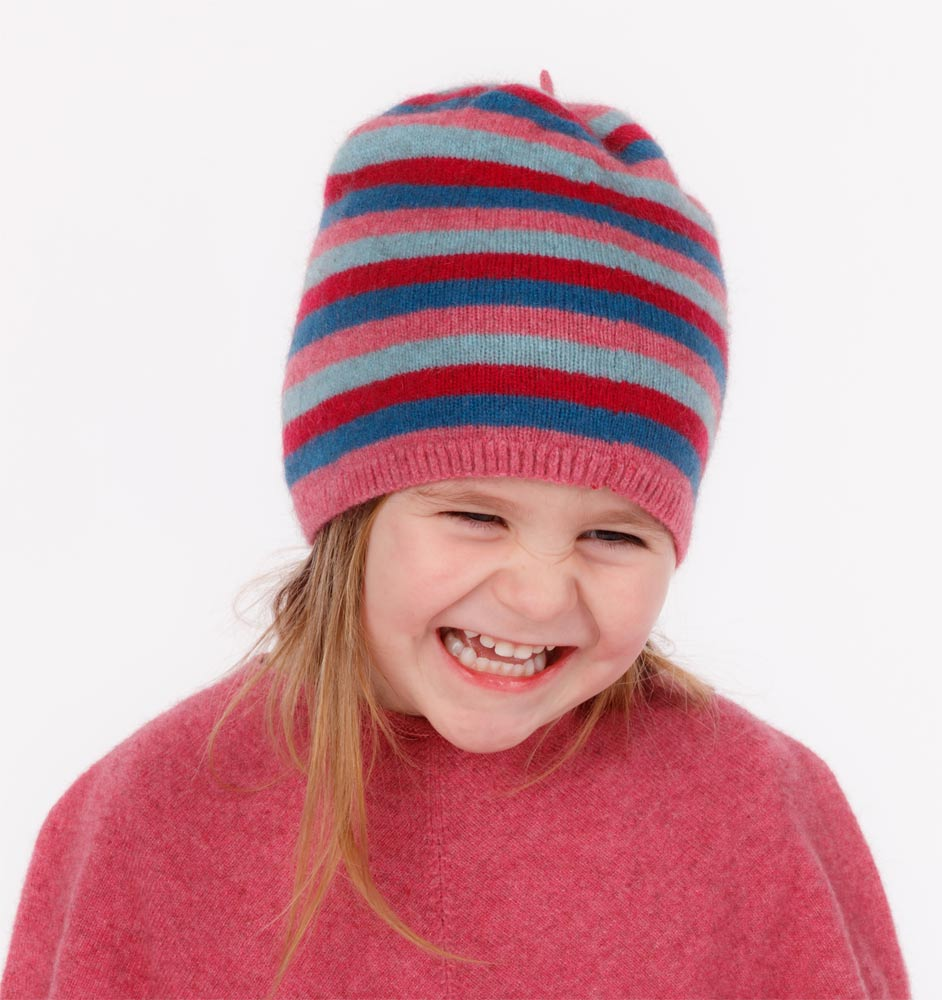 Possum & Merino Wool Raspberry Pink Kids Beanie Hat - NX707