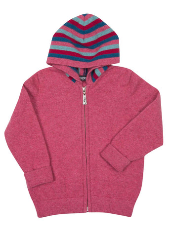 Raspberry Pink Kids Hoodie Jacket Possum & Merino Wool - NB712