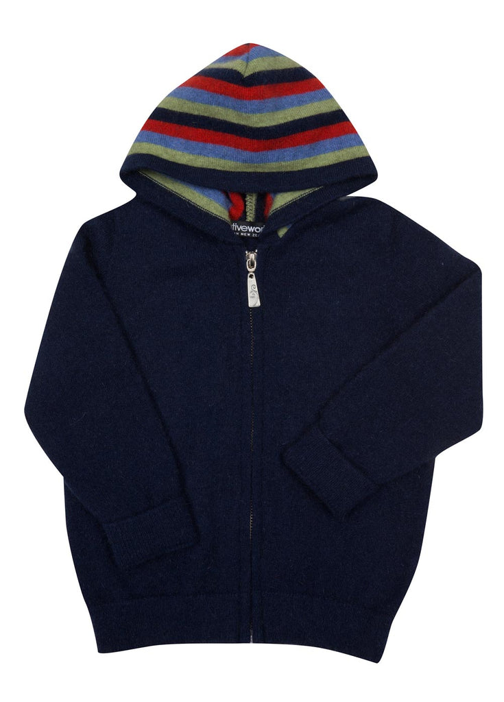 Twilight Blue Kids Hoodie Jacket Possum & Merino Wool - NB712