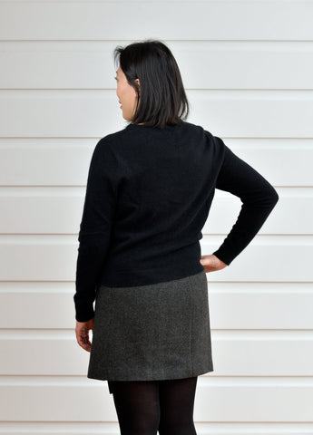 Image of Black Women's Merino Cropped Cardigan - NB737