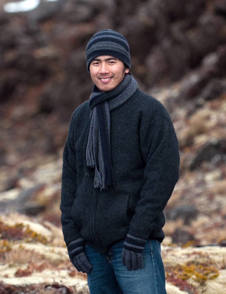 Men's wool beanie in possum merino