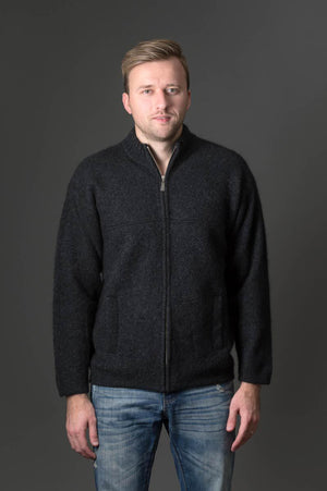 Charcoal Men's Possum Merino Felted Jacket - NE029