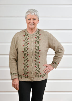 Native World Flax Beige Women's Rose Petal Cardigan - NE052