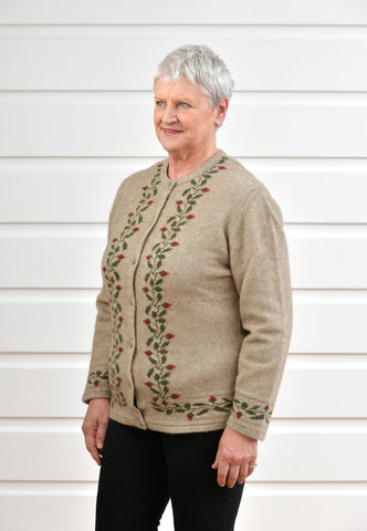 Image of Native World Flax Beige Women's Rose Petal Cardigan - NE052