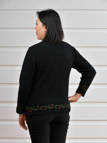 Image of Black Women's Rose Petal Cardigan - NE052