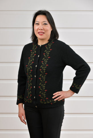 Black Women's Rose Petal Cardigan - NE052