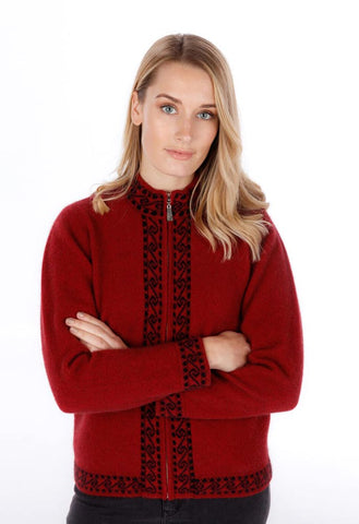 Image of Native World women's possum and merino wool Koru jacket berry red