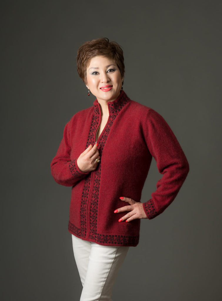 Native World women's possum and merino wool Koru jacket berry red