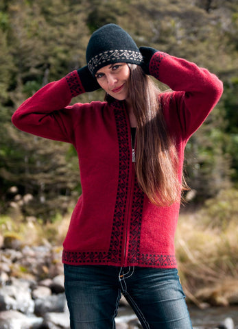 Image of Women's possum and merino wool Koru jacket berry red