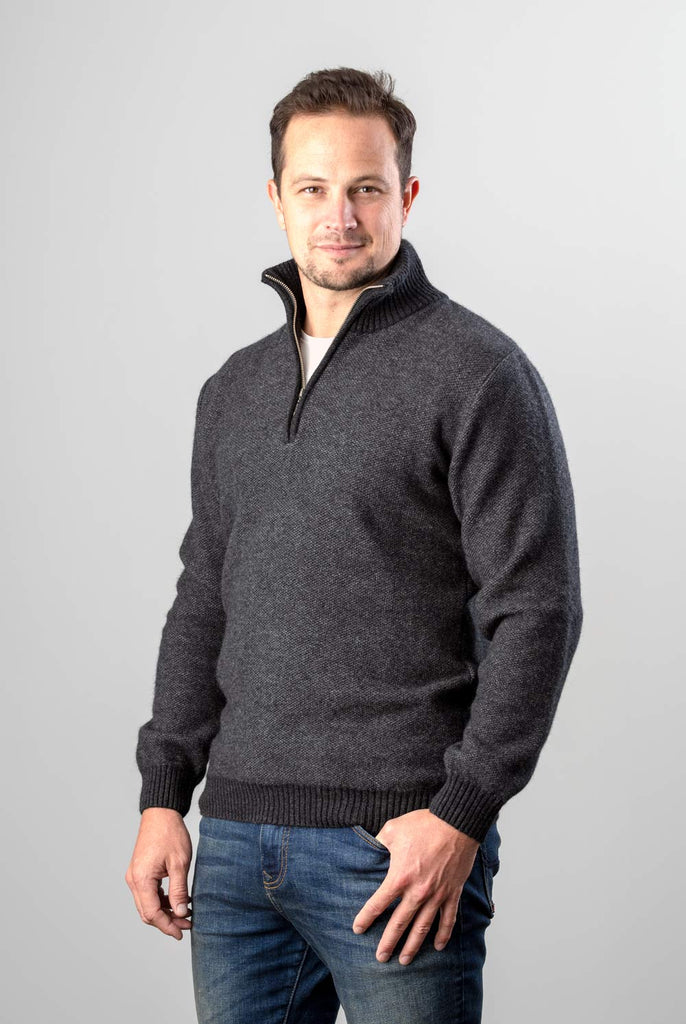 Native World Charcoal Men's Textured Half Zip Wool Sweater - NE338