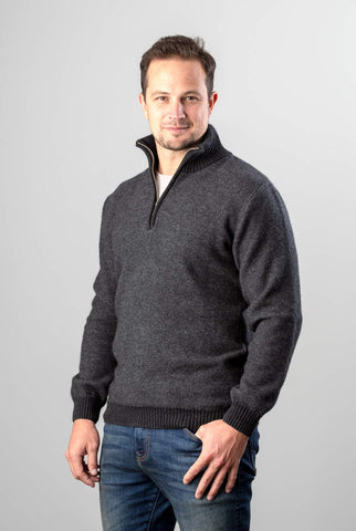 Image of Native World Charcoal Men's Textured Half Zip Wool Sweater - NE338