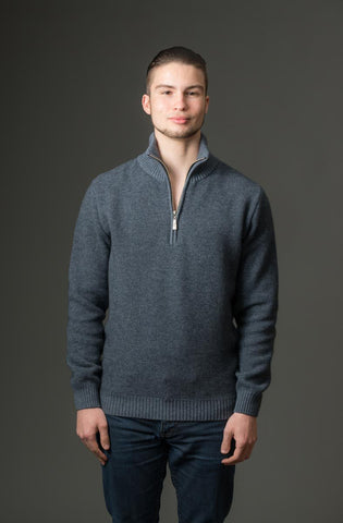 Sky Blue Men's Textured Half Zip Sweater - NE338