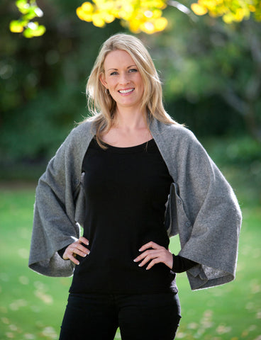 Image of Silver Grey Women's Six-Way Possum Merino Wrap - NE557