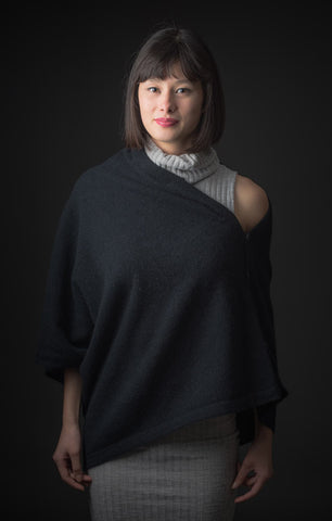 Image of Black Women's Any-Way Possum Merino Wrap - NE557