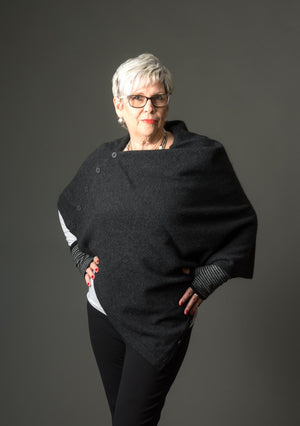 Charcoal Women's Six-Way Possum Merino Wrap - NE557