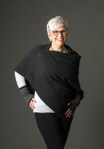 Charcoal Women's Any-Way Native World Possum Merino Wrap - NE557