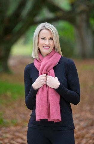 Raspberry Pink Women's Six-Way Possum Merino Wrap - NE557