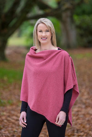 Image of Raspberry Pink Women's Six-Way Possum Merino Wrap - NE557