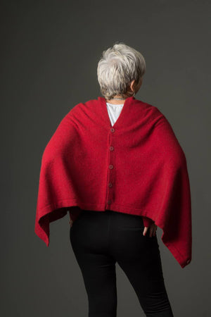 Berry Red Women's Six-Way Possum Merino Wrap - NE557