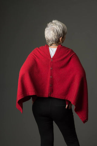 Berry Red Women's Any-Way Possum Merino Wrap - NE557